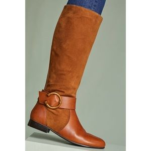 Anthropologie Kiwi Brown Round Buckle Riding Boots